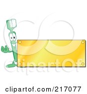 Royalty Free RF Clipart Illustration Of A Green Toothbrush Character Logo Mascot With A Blank Gold Plaque by Toons4Biz