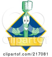 Royalty Free RF Clipart Illustration Of A Green Toothbrush Logo Character Mascot With A Gold Banner On A Blue Diamond by Toons4Biz