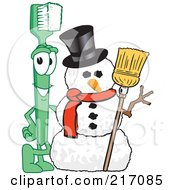 Royalty Free RF Clipart Illustration Of A Green Toothbrush Character Mascot By A Snowman by Toons4Biz