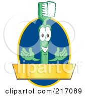 Green Toothbrush Logo Character Mascot With A Gold Banner On A Blue Oval