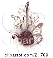 Musical Clipart Picture Illustration Of An Electric Guitar With Scrolled Vines And A Butterfly Over A Grunge Background