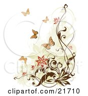 Nature Clipart Picture Illustration Of Flying Monarch Butterflies Near Flowering Brown Vines Over A White Background