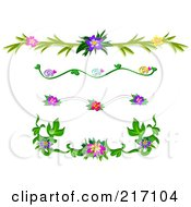 Royalty Free RF Clipart Illustration Of A Digital Collage Of Tropical Flower Header Design Elements