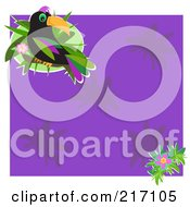 Royalty Free RF Clipart Illustration Of A Toucan And Flowers On Purple by bpearth