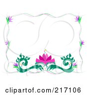 Royalty Free RF Clipart Illustration Of A Flowering Vine And Lotus Flourish Border