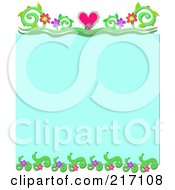 Royalty Free RF Clipart Illustration Of A Turquoise Background Bordered With Hearts Flowers And Vines by bpearth