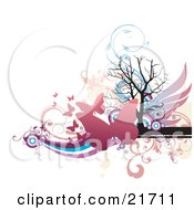 Nature Clipart Picture Illustration of Flying Pink Butterflies Over A Bare Silhouetted Tree With Wings, Waves And Scrolls by OnFocusMedia