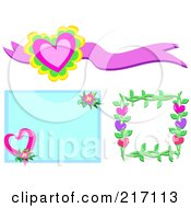 Royalty Free RF Clipart Illustration Of A Digital Collage Of Heart Banners Backgrounds And Frames