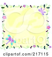 Royalty Free RF Clipart Illustration Of A Frame Of Flowers And Vines With Dragonflies Around Yellow by bpearth