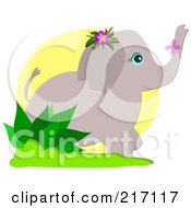Royalty Free RF Clipart Illustration Of A Butterfly On An Elephants Trunk by bpearth