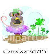 Royalty Free RF Clipart Illustration Of A Mouse Leprechaun Holding Gold On A Mushroom by bpearth