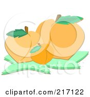 Royalty Free RF Clipart Illustration Of Three Peaches by bpearth