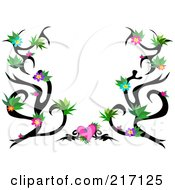 Royalty Free RF Clipart Illustration Of A Black Tattoo Vine With Colorful Flowers And A Pink Heart