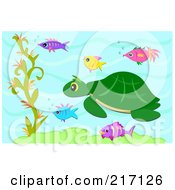 Royalty Free RF Clipart Illustration Of A Sea Turtle And Fish Swimming Underwater by bpearth