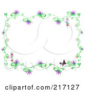 Royalty Free RF Clipart Illustration Of A Frame Of Flowering Vines And Butterflies
