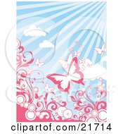 Nature Clipart Picture Illustration Of Pink And White Butterflies Flying Above Circles And Pink Scrolling Vines Over A Sunny Blue Sky Background by OnFocusMedia