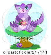 Royalty Free RF Clipart Illustration Of A Purple Dragon Sitting On A Mushroom by bpearth