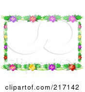 Royalty Free RF Clipart Illustration Of A Frame Of Lush Green Foliage And Colorful Flowers