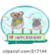 Two Mice With A Happy Birthday Banner And Flowers