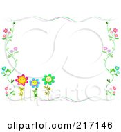 Royalty Free RF Clipart Illustration Of A Frame Of Happy Flowers And Vines