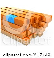 Royalty Free RF Clipart Illustration Of A Stack Of Orange And Blue Bars