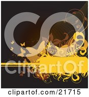 Nature Clipart Picture Illustration Of A Brown Background With Orange And Yellow Butterflies Scrolls And A Blank Text Space by OnFocusMedia