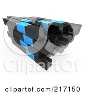 Royalty Free RF Clipart Illustration Of A Stack Of Black And Blue Bars