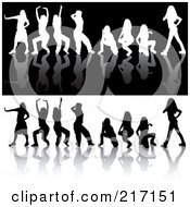 Royalty Free RF Clipart Illustration Of A Digital Collage Of Black And White Silhouetted Dancing Women On Reflective Backgrounds 2