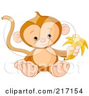 Royalty Free RF Clipart Illustration Of A Cute Baby Monkey Holding A Banana by Pushkin