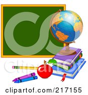 Royalty Free RF Clipart Illustration Of A Desk Globe On Top Of Books By An Apple Pencil Crayons And Chalk Board