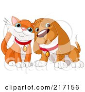 Royalty Free RF Clipart Illustration Of A Cute Orange And White Cat And Basset Hound Cuddling by Pushkin