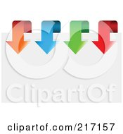 Royalty Free RF Clipart Illustration Of A Row Of Colorful Arrows Curving Over Paper