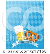 Royalty Free RF Clipart Illustration Of A Blue Diamond Oktoberfest Background With Beer And A Soft Pretzel