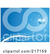 Royalty Free RF Clipart Illustration Of A Shiny Shooting Heart On A Blue Background