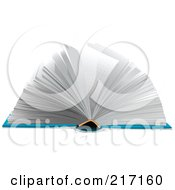 Royalty Free RF Clipart Illustration Of A Blue Book Laying Flat With Pages Turning by Pushkin