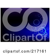Royalty Free RF Clipart Illustration Of A Dark Blue Background With Floating Bubbles