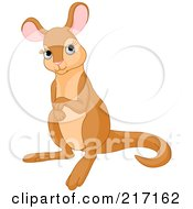 Royalty Free RF Clipart Illustration Of A Cute Baby Kangaroo In Thought by Pushkin