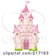 Royalty Free RF Clipart Illustration Of A Pink Brick Fairy Tale Castle by Pushkin