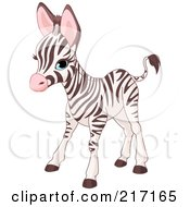 Royalty Free RF Clipart Illustration Of A Cute Baby Zebra Standing by Pushkin