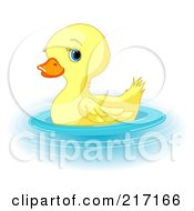 Royalty Free RF Clipart Illustration Of A Cute Baby Duckling Swimming by Pushkin