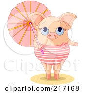 Royalty Free RF Clipart Illustration Of A Cute Summer Piglet In A Swimsuit Holding A Parasol