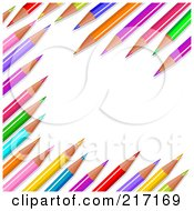 Royalty Free RF Clipart Illustration Of A Background Of Colored Pencils In Random Display by Pushkin