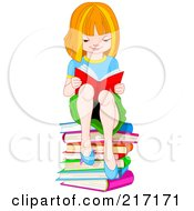 Royalty Free RF Clipart Illustration Of A Red Haired School Girl Sitting On A Stack Of Books And Reading by Pushkin