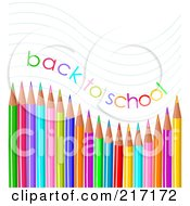 Royalty Free RF Clipart Illustration Of Back To School Text Waving Over Colored Pencils