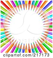 Royalty Free RF Clipart Illustration Of A Background Of Colored Pencils In Circle Display
