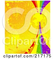 Royalty Free RF Clipart Illustration Of A Rainbow On A Grungy Splattered And Scratched Orange Background