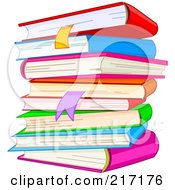 Royalty Free RF Clipart Illustration Of A Stack Of Text Books And Bookmarks by Pushkin