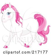 Royalty Free RF Clipart Illustration Of A Cute White And Pink Horse