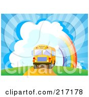Royalty Free RF Clipart Illustration Of A School Bus Driving Near A Rainbow And Bursting Sky