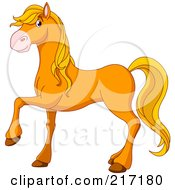 Royalty Free RF Clipart Illustration Of A Cute Handsome Orange Horse by Pushkin